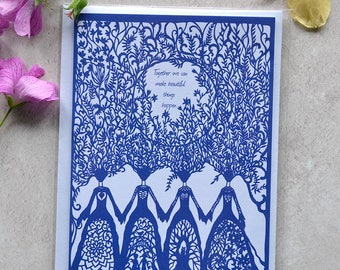 Sisters Card - Greeting Card - Paper Cut Art - Eco-Friendly - Inspirational Quote Card
