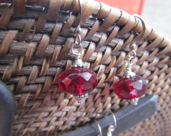 Faceted Dark Garnet Red Glass, Sterling Silver and Lead Free Pewter Earrings