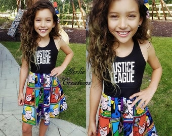 JUSTICE LEAGUE Dress, Girls Dress, Justice League, Superman, Batman, Wonder Woman, Flash, Green Lantern, Aquaman - Available in  2y - 12y