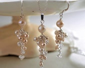 Creamrose pearl and diamante complete wedding jewellery set with bracelet, earrings and necklace