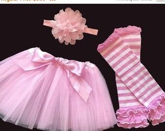 ON SALE Girls Pink Tutu Legwarmers Headband with Bow
