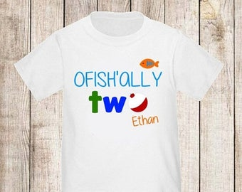ON SALE Ofishally Two Under the Sea Boys Fishing Personalized Birthday Shirt - ANY Age