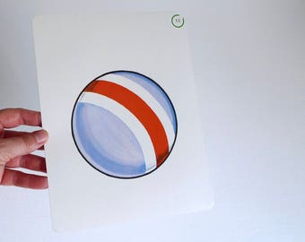Large Vintage Flash Card of a Blue and Red Ball - 1965 Peabody Language Development