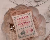 PdF - Cross Stitch -Sampler abc Tiny Rabbits - Key - Blue Rose and Red By Poppy M Les Ptits Pois