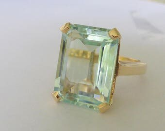 Large 1940s-50s 14k Natural aquamarine ring