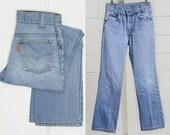 70s Levis Orange Tag Light Wash High Waisted Blue Jeans 26 x 27