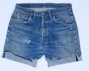 60s Levis BIG E Redline Single Stitch Black Bar Indigo Denim Cut-off Jean Shorts W 34