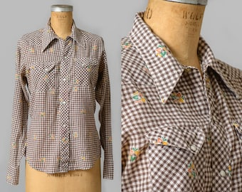 70 Plaid Western Shirt Brown Gingham Plaid and Autumn Leaves Pearl Snap Western Shirt