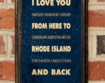 Rhode Island RI I Love You From Here And Back Wall Art Sign Plaque Gift Present Personalized Custom Color Home Decor Vintage Style Antique