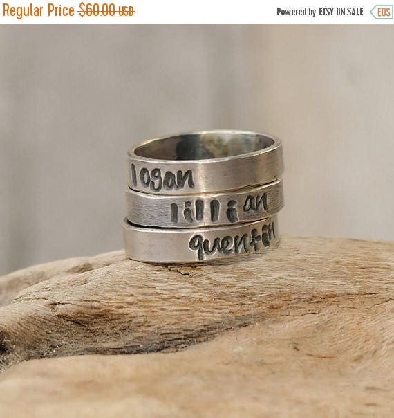 ON SALE Personalized Rings - Personalized Rings Stacking Set of Three - Personalized Jewelry