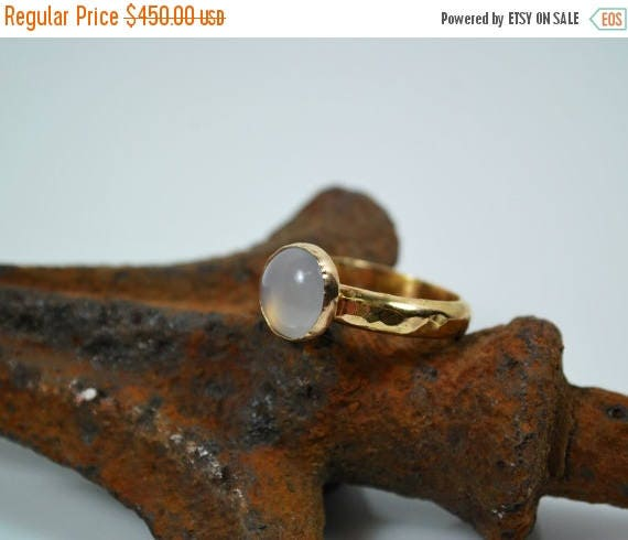 ON SALE Solitaire Rose Quartz and 18K Gold Engagement Ring - Anniversary Ring - Simple Engagement Ring
