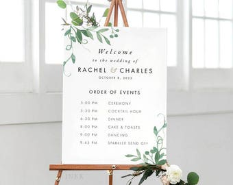 Modern Botanical Order Of Events Welcome Sign, Order of Events Signage, Order of Events Sign, Custom Wedding Sign PDF - (Item code: P1058)