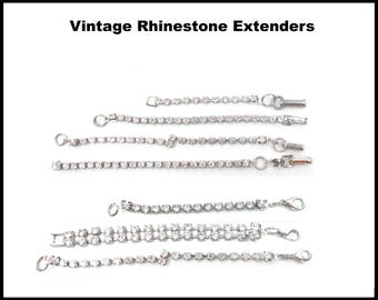 Vintage Silver Rhinestone Extender, Fold Over Clasp, Lobster Claw Clasp, Several Lengths, Necklace Extender, Choker Extender, Bridal Choker