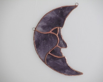 Stained Glass New Moon Suncatcher Purple - Price Includes Shipping