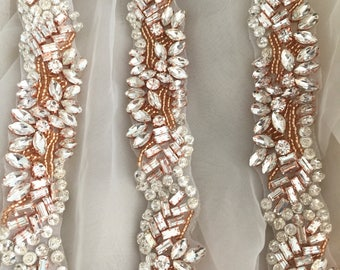 Rose Gold Rhinestone Beaded Applique  for Bridal Sash and Belts , Wedding Gown Embellishment Bridal Headpiece Applique