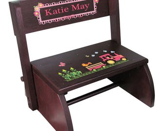 Personalized Espresso Flip and Folding Step Stool with Pink Tractor Design-stoo-esp-211d
