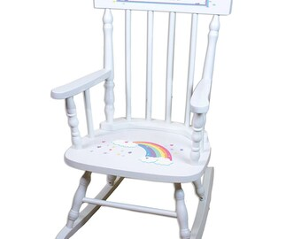 Personalized White Childrens Rocking Chair with Pastel Rainbow Design-spin-whi-235b