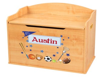 Personalized Sports Natural Toy Box Bench