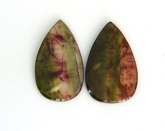 Pink Green Watermelon Bicolor Tourmaline Matched Pair Gemstone 30.1 ct Tourmaline 19.3x33.3x2.0 mm Free Shipping