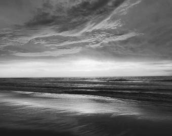 Large Black & White Oceanscape Photograph, Digital Print, Wall Art, Home Decor, Download