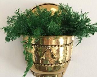 Brass Wall Pocket Planter /  Wall Planter / Apartment Gardening
