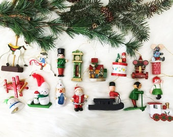 Wooden Toy Ornament Lot / Kitschy Ornaments / 70's Toy Christmas Ornaments / Soldiers / Airplane and More / Lot of 17