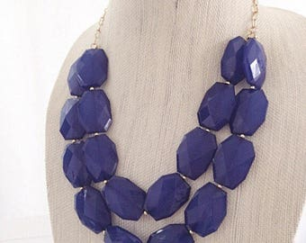 Dark Blue Navy Statement Necklace Double Stranded Chunky Faceted Beaded Bridesmaid Necklace