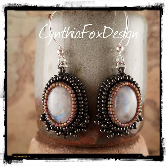 Beaded Moonstone Ocal Crystal Earrings