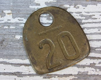 Number 20 Tag Antique Cattle Tag #20  Large Vintage Brass Tag Cow Tag Industrial Tag House Number Apartment Lucky Numbers Keychain Tag A