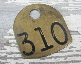 Number 310 Tag Antique Cattle Tag #310 Large Vintage Brass Tag Cow Tag Industrial Tag House Number Apartment Lucky Numbers Keychain Tag A