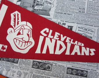 Vintage Baseball Pennant Cleveland Indians 12 Inch Pennant MLB Mini Flag 1970s Era Collectible Vintage Sports Memorabilia Stocking Stuffer
