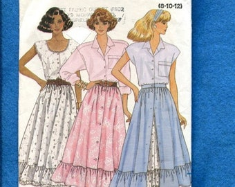 15% OFF SALE Vintage 1987 Butterick 4843 Country Western Swing Ruffle Tier Skirt Sizes 8..10..12 UNCUT