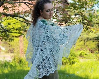 White Tree. Knitted wrap, wedding shawl, white pure linen shawl, organic yarn, linen wedding, openwork floral pattern, summer shawl, ooak