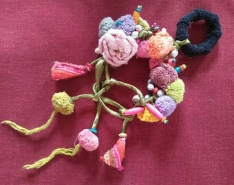 Pom Pom Elastic HairBand Pink Flower Handmade