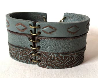 Boho Cuff Bracelet, Cement Layered Bracelet, Clay, Bohemian, Urban, Industral, Contemporary Bracelet, Wide Cuff, Yoga Inspired, Not Leather