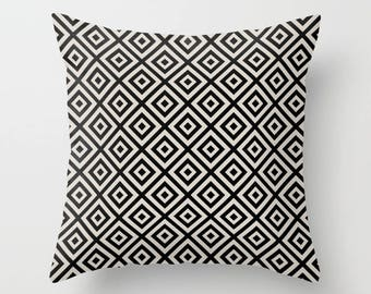 2 OPTIONS, Geometric Diamond Illusion Pattern Decorative Pillow, Black, Light Cream, Oyster cream, Faux Down Insert, Indoor or Outdoor cover