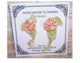 Handmade Ribbon Roses,Ribbon Applique,French Revival,Satin Ribbon Rose,Matched Pair,Lampshade Decoration,Peach,Flower Embellishments