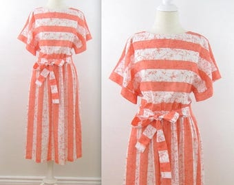SALE Mary Martin Striped Summer Dress - Vintage 1980s Orange + White Butterfly Day Dress in Large xLarge