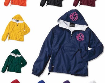 Monogrammed Half Zip Rain Jacket Pullover by Charles River Apparel