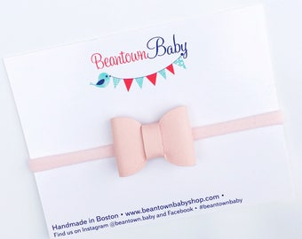 Pink Baby Bow, Pink Baby Headband, Pink Newborn Bow, Pink Newborn Headband, Coming Home Outfit Baby Girl, Faux Leather Baby Bow