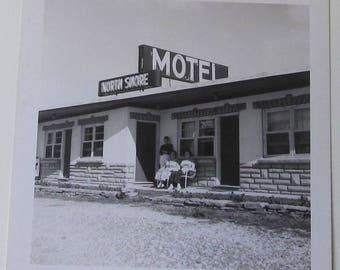 North Shore Motel Vintage Snapshot Mid Century Modern Hospitality Industry Photo Travel Souvenir Black And White Photograph Paper Ephemera