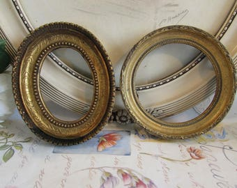 Vintage French divine duo decorative  photo, picture frames. One oval, one round
