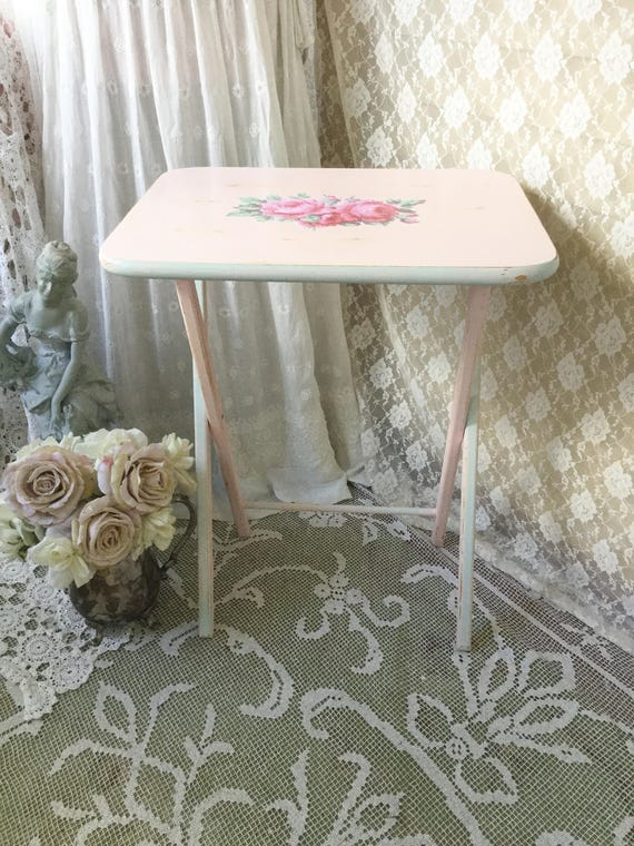 shabby tv tray pink folding table vintage camper table
