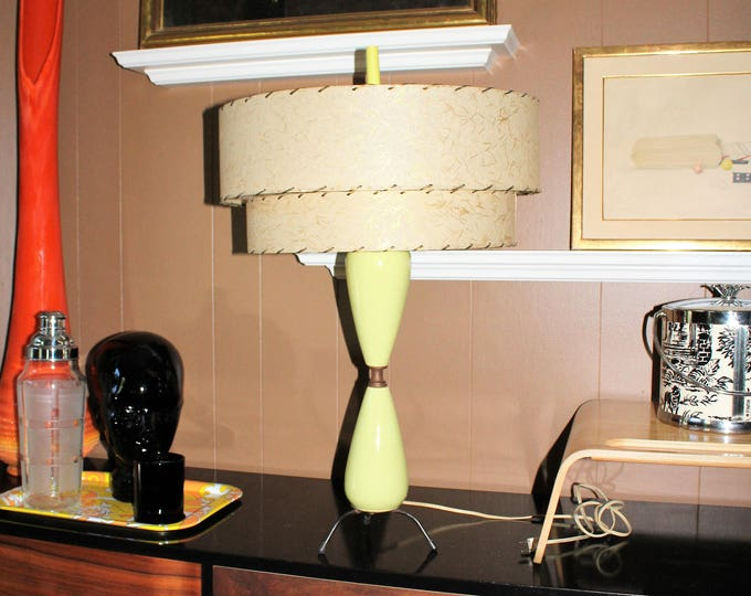 Vintage Mid Century Table Lamp and 2 Tier Shade Green 1950s