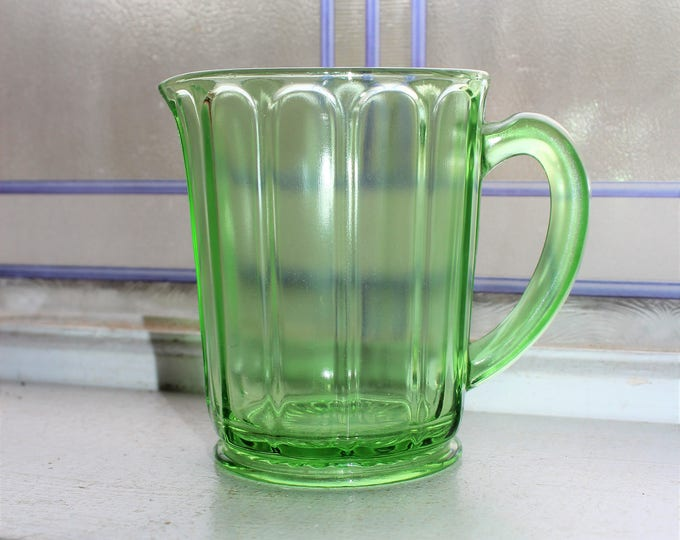 Green Depression Glass Paneled Pitcher Hazel Atlas Vintage 1930s