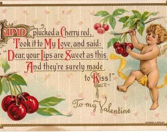 Vintage Valentine Postcard, Cupid Plucking Cherries, ca 1910