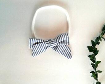 Blue pin striped girls hair bow clip girls vintage modern