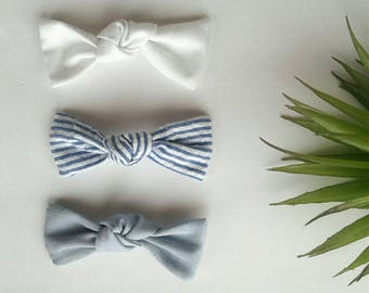 Set of three headbands nylon modern pin stripe denim white blue vintage clip