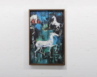 Mid Century Modern, abstract equestrian painting