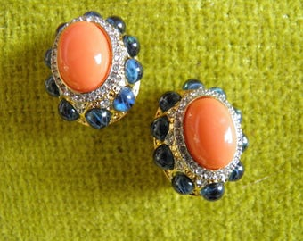 KJL, Signed RhinestoneClip Earrings,Faux Coral and Sapphire.